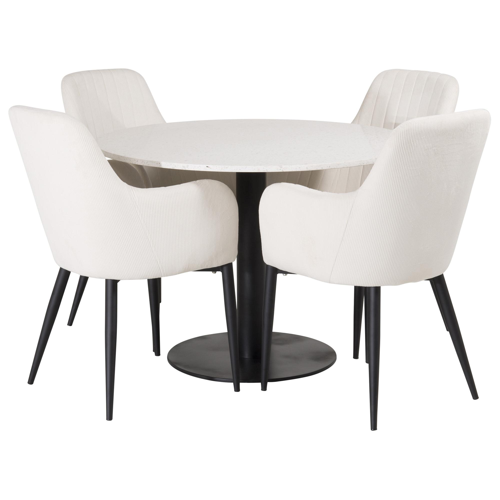 Matgrupp Sky Furniture Roxanna Vit Bord med 4 Corina Stolar