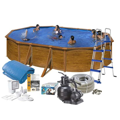 Poolpaket Swim & Fun Brown Steel Oval Baspaket 120 cm Djup